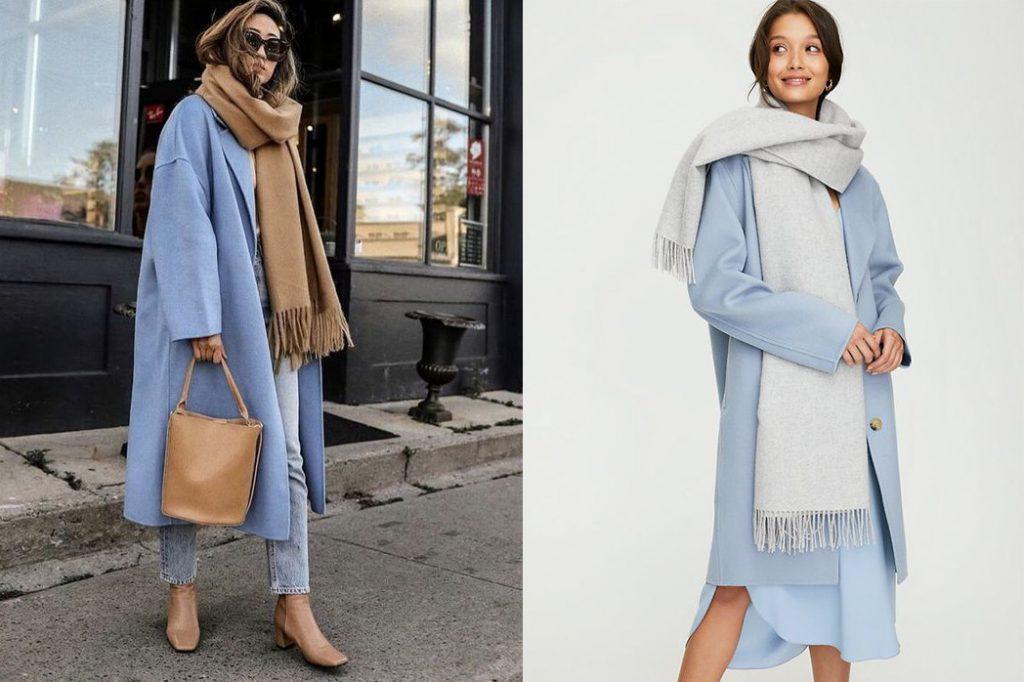 Голубое пальто и шарф