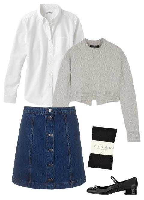 Джинсовая юбка: офисный лук