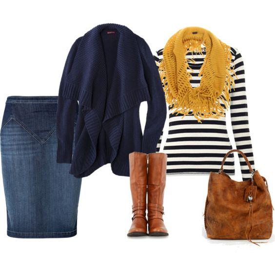 Вязаный кардиган, полосатый джемпер и темно-синяя юбка отлично сочетаются с терракотовыми сапогами и сумочкой, завершает лук вязаный горчичный шарф