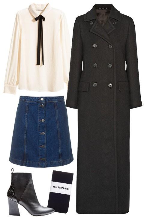 Джинсовая юбка с кашемировым пальто