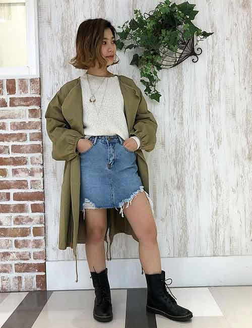 Джинсовая юбка: образ в стиле милитари