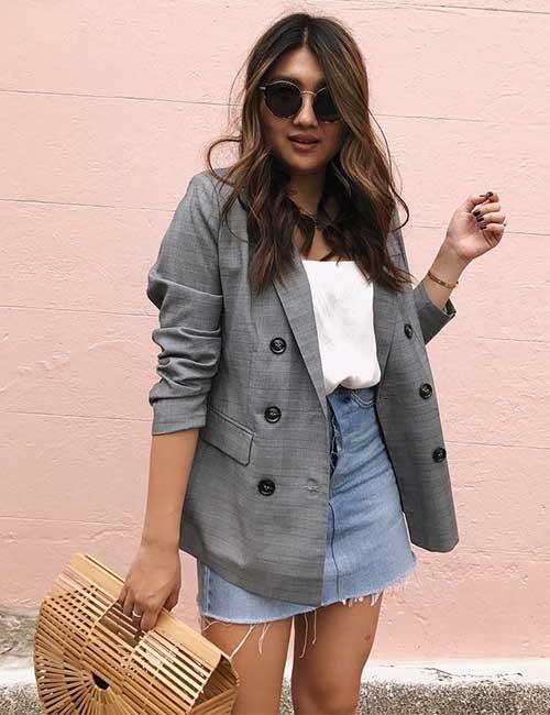 Джинсовая юбка и пиджак