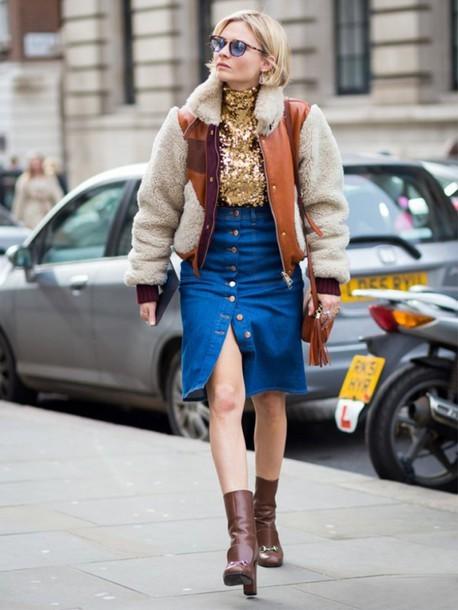 Джинсовая юбка с утепленным бомбером