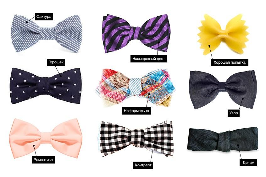 Виды галстука-бабочки