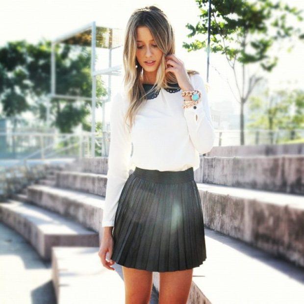 Короткая юбка плиссе