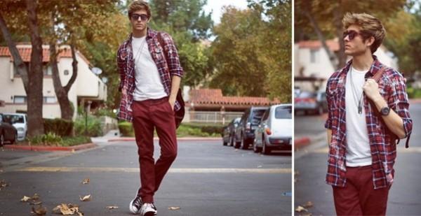 Клечатая рубашка с джинсами