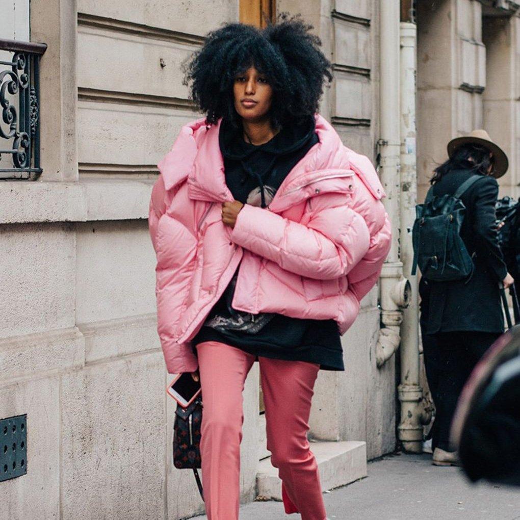 Розовый пуховик одеяло